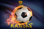 Soccer ball with flag on background series - Kansas — Стоковое фото