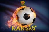 Soccer ball with flag on background series - Kansas — Stockfoto