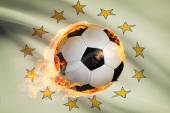 Soccer ball with flag on background series - Rhode Island — Stock Photo