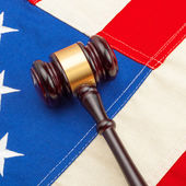 Judge gavel and US flag - closeup shot — Stock Photo