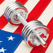 Metal dumbbell with US flag — 图库照片