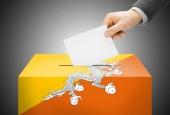 Voting concept - Ballot box painted into national flag colors - Bhutan — Stock Photo
