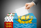 Voting concept - Ballot box painted into national flag colors - Saint-Pierre and Miquelon — Stock Photo