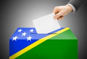 Voting concept - Ballot box painted into national flag colors - Solomon Islands — Stock Photo