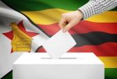 Voting concept - Ballot box with national flag on background - Zimbabwe — Stock Photo