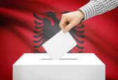 Voting concept - Ballot box with national flag on background - Albania — 图库照片