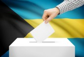 Voting concept - Ballot box with national flag on background - Bahamas — Stock Photo