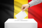 Voting concept - Ballot box with national flag on background - Belgium — Stock Photo