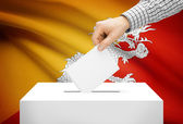 Voting concept - Ballot box with national flag on background - Bhutan — Stock Photo