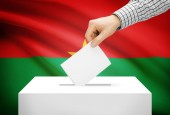 Voting concept - Ballot box with national flag on background - Burkina Faso — Stock Photo