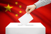 Voting concept - Ballot box with national flag on background - People's Republic of China — Stock Photo