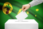 Voting concept - Ballot box with national flag on background - Territory of the Cocos (Keeling) Islands — Zdjęcie stockowe