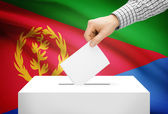 Voting concept - Ballot box with national flag on background - Eritrea — Stock Photo