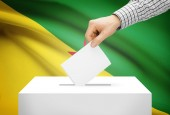 Voting concept - Ballot box with national flag on background - French Guiana — Stock Photo