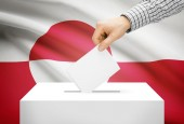 Voting concept - Ballot box with national flag on background - Greenland — Stock Photo