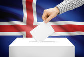 Voting concept - Ballot box with national flag on background - Iceland — Stock Photo