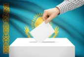 Voting concept - Ballot box with national flag on background - Kazakhstan — Stock Photo