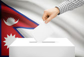 Voting concept - Ballot box with national flag on background - Nepal — Stock Photo
