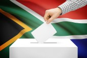 Voting concept - Ballot box with national flag on background - South Africa — Stock Photo