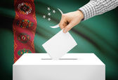 Voting concept - Ballot box with national flag on background - Turkmenistan — Stock Photo