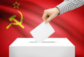 Voting concept - Ballot box with national flag on background - USSR — Stock Photo