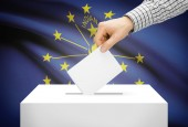 Voting concept - Ballot box with national flag on background - Indiana — Stock Photo