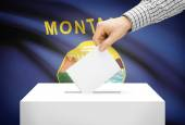 Voting concept - Ballot box with national flag on background - Montana — Stock Photo