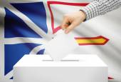 Voting concept - Ballot box with national flag on background - Newfoundland and Labrador — Stock Photo