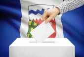 Voting concept - Ballot box with national flag on background - Northwest Territories — Stock Photo