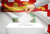 Voting concept - Ballot box with national flag on background - Prince Edward Island — Stock Photo