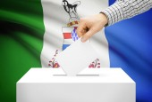 Voting concept - Ballot box with national flag on background - Yukon — Stock Photo