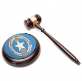 Judge gavel and soundboard with national flag on it - Northern Marianas — Stock Photo