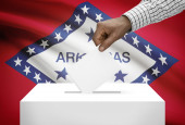 Voting concept - Ballot box with US state flag on background - Arkansas — Stock Photo