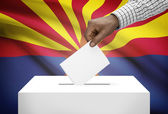 Voting concept - Ballot box with US state flag on background - Arizona — Stock Photo