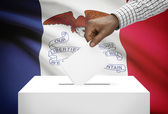 Voting concept - Ballot box with US state flag on background - Iowa — Stock Photo