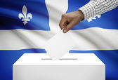 Voting concept - Ballot box with Canadian province flag on background - Quebec — Stok fotoğraf