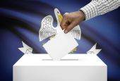 Voting concept - Ballot box with US state flag on background - Louisiana — Stock Photo