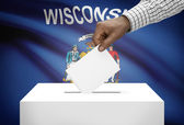 Voting concept - Ballot box with US state flag on background - Wisconsin — Stock Photo