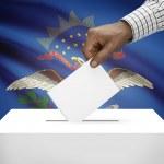 Voting concept - Ballot box with US state flag on background - North Dakota — Stock Photo #62467673