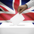 Ballot box with national flag on background - United Kingdom of Great Britain and Northern Ireland — Stock Photo #62469457