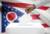 Voting concept - Ballot box with US state flag on background - Ohio — Stock Photo