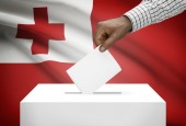 Ballot box with national flag on background - Tonga — Stock Photo