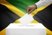 Ballot box with national flag on background - Jamaica — Stock Photo