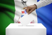 Voting concept - Ballot box with Canadian province flag on background - Yukon — Stock Photo