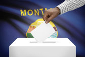 Voting concept - Ballot box with US state flag on background - Montana — Foto de Stock