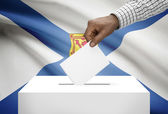 Voting concept - Ballot box with Canadian province flag on background - Nova Scotia — Stock Photo