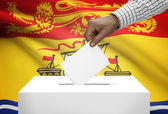Voting concept - Ballot box with Canadian province flag on background - New Brunswick — Stock Photo