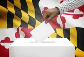 Voting concept - Ballot box with US state flag on background - Maryland — Stock Photo