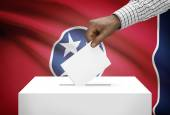 Voting concept - Ballot box with US state flag on background - Tennessee — Stock Photo