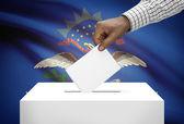 Voting concept - Ballot box with US state flag on background - North Dakota — Stock Photo